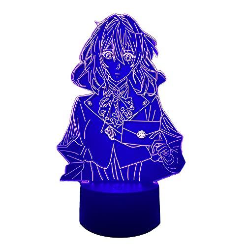 Luminária noturna de LED de acrílico violeta Evergarden para quarto decorativo de quarto, luz noturna, presente de aniversário 3D