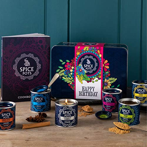 Spice Pots Happy Birthday Gift Box - 5 Indian Spices, a Cooks Candle and a Curry Cookbook