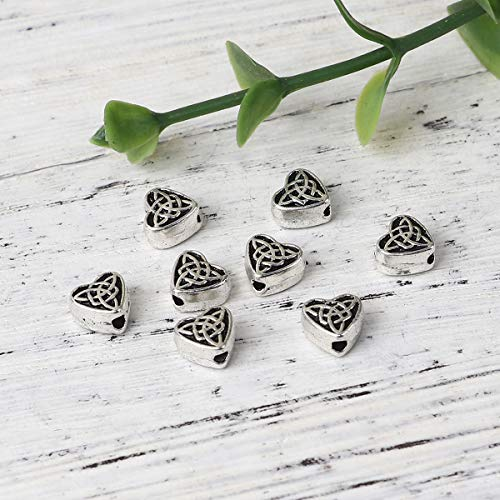 PEPPERLONELY 200pc Antiqued Silver Alloy Heart Celtic Knot Charms Pendants 6.5 x6.1mm(2/8' x 2/8')