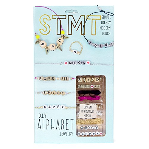 STMT DIY Alphabet Jewelry Set by Horizon Group USA, Design 10 Premium Personalized VSCO Girl Necklaces, Bracelets or Rings. Alpha Beads, Chains, Strings & Tools Included