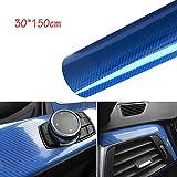 CompraFun Vinilo Fibra Carbono, 6D Película Pegatina Decoración Autoadhesiva A Prueba de Agua Libre de Burbuja 30 * 150CM, para Decoración Interior y Exterior de Coche y Motocicleta (Azul)