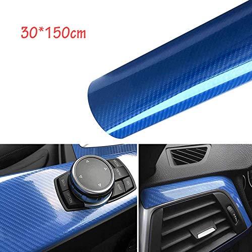 CompraFun Carbon Folie, Selbstklebend Vinyl Auto Schutz Folie, 6D 30 * 150cm Wasserdichter Flexibel Autofolie Blau