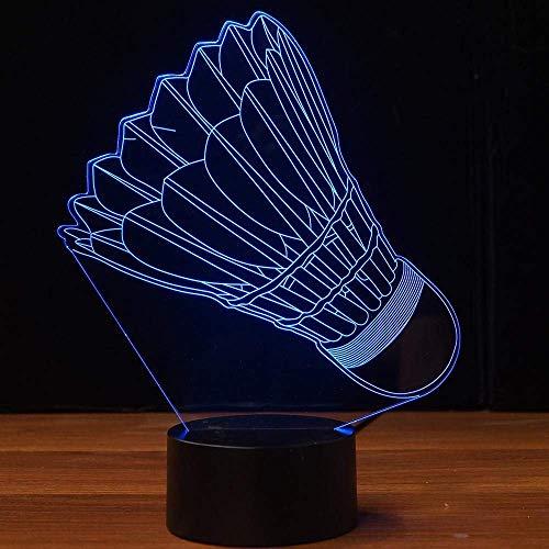 Luz de noche de bádminton 3D Interruptor táctil USB Decoración Mesa Escritorio Lámparas de ilusión óptica 7 luces que cambian de color Lámpara de mesa LED Decoración para niños Juguete de regalo