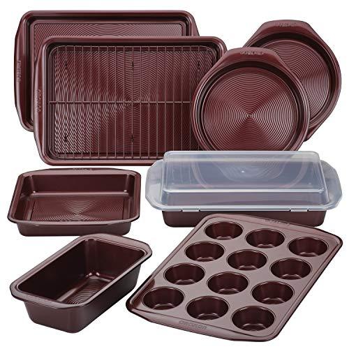 Circulon Backformen-Set mit Antihaft-Brotbackblech und Kuchenformen, 10-teilig, Merlot Rot