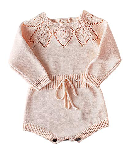 Newborn Baby Girls Cute Knit Strap Romper Leaves Pattern Jumpsuit Bodysuit Pink
