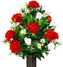 Sympathy Silks Artificial Cemetery Flowers – Realistic Vibrant Roses, Outdoor Grave Decorations - Non-Bleed Colors, and Easy Fit - 1 Red Mum and White Rose Bouquet