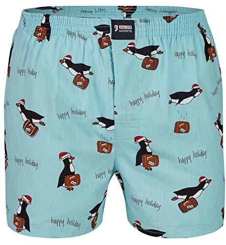 Happy Shorts Herren American Boxer Boxershorts Shorts Webboxer Weihnachten X-Mas Geschenk Pinguin - Penguin, Grösse:L - 6-52, Präzise Farbe:Pinguin - Penguin