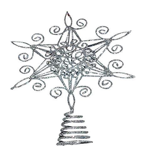 De decoraciones navideñas - 20 cm de estrella plateada de espirales y purpurina árbol de Navidad decoración de...