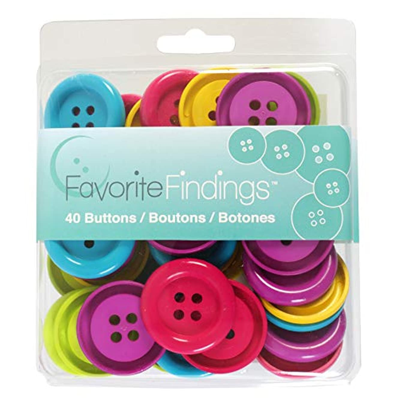 Blumenthal Lansing 4000174 40pc Favorite Findings Assorted Craft and Sewing Buttons, Purple, Red, Blue, Green, and Yellow, 40 Piece