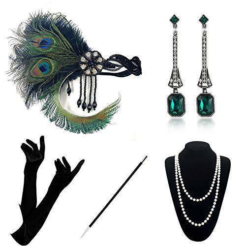 KQueenStar Juego de accesorios para disfraz de los años 20, accesorios para mujer, diadema, pendientes, collar, guantes, punta de cigarrillo, set verde A