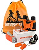 Adventure Kidz - Outdoor Exploration Kit, Childrens Toy Binoculars, Flashlight, Compass, Whistle, Magnifying Glass, Backpack. Great Kids Gift Set for Camping, Hiking, Educational and Pretend Play.