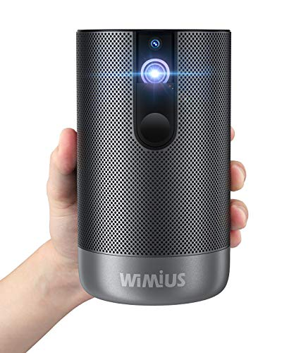 Projector, WiMiUS Q1 Mini Android TV Projector, 500 ANSI Lumens Native 1080p Projector with Wi-Fi, Android System, Bluetooth, 5,000+ Apps, Battery DLP Projector for Home Entertainment Office Use