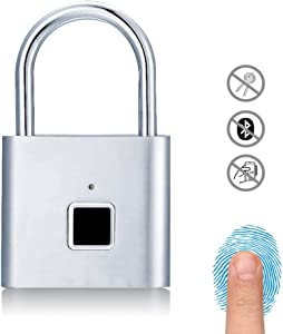 Fingerprint Padlock, Uervoton Gym Lock for Locker, Sports, School & Employee Locker, Door, Fence, Hasp and Storage - Metal and Steel IP65 (No App Lock) (Silver)