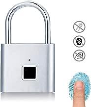 Fingerprint Padlock, Uervoton Gym Lock for Locker, Sports, School & Employee Locker, Outdoor, Fence, Hasp and Storage - All Weather Metal and Steel IP65 (No App Lock) (Silver) (Silver)