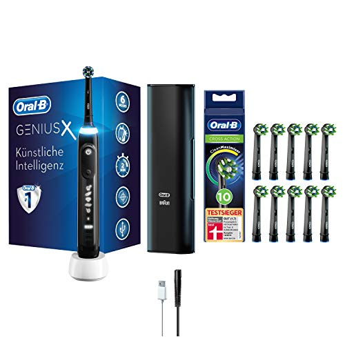 Oral-B Genius X Elektrische Zahnbürste, mit künstlicher Intelligenz und Premium Lade-Reise-Etui, schwarz & 10 extra CrossAction Aufsteckbürsten