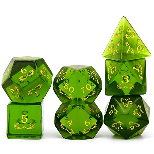 Haxtec Gemstone Dice DND Dice Set W/ Wood Dice Case D&D Dungeons and Dragons TTRPG DND Master Gift-Olive Green Zircon
