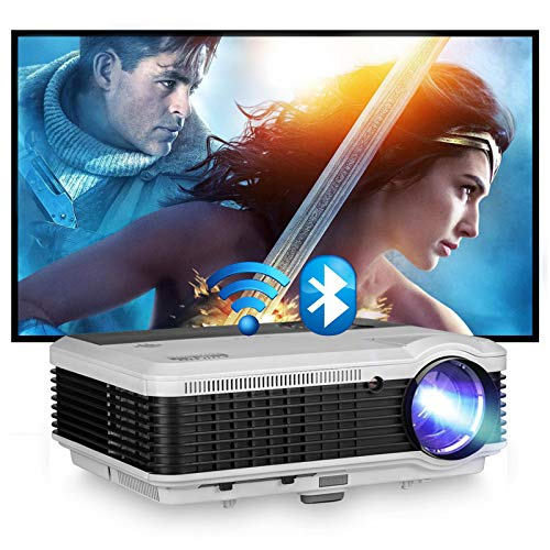 """WiFi Projector for Wireless Screen Mirroring, 5000 Lumen Bluetooth Projector 1080P and 200"""" Display, LED Movie Projector with Smartphone/Laptop/DVD/Windows/HDMI/USB/PS4, for Home Theater"""