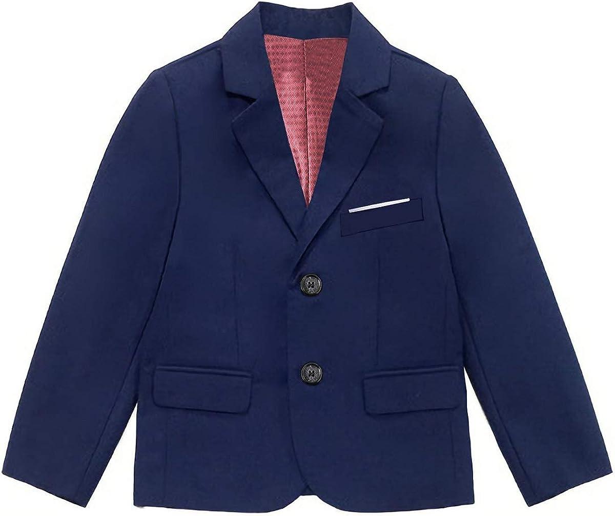 Fersumm Boys' Formal Solid Color Blazer Jacket School Uniform Coat