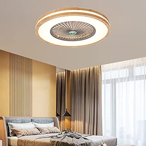 Madera Silencioso Ventilador Techo Con Luz Y Mando, 3 Velocidades LED Regulable Lamparas Ventilador De Techo Con Temporizador Ultradelgado Moderno Dormitorio Ventilador Techo Con Luz,F