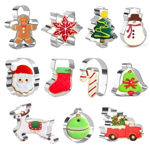 Zestaw świątecznych foremek do ciastek - 11 sztuk - Śnieżynki, Płatek śniegu, Bałwan, Twarz Świętego Mikołaja, pończocha, laska cukierkowa, drzewo, renifer i inne kształty foremki do wykrawania ciastek ze stali nierdzewnej