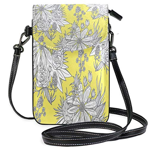 XCNGG Monedero pequeño para teléfono celular Flower Patteern Yellow Cell Phone Purse Wallet for Women Girl Small Crossbody Purse Bags