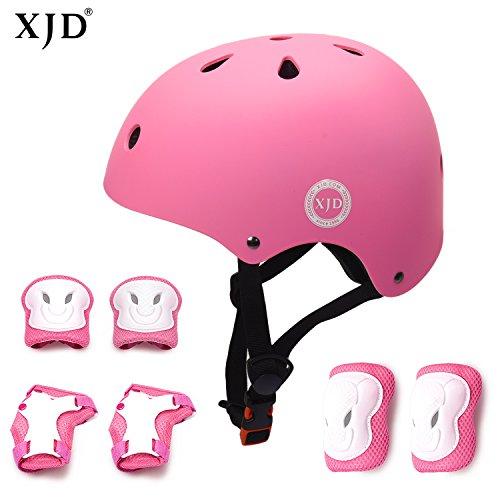 XJD Kombi Kinder Fahrradhelm Klassiker 1.0 + 6 Schutzausrüstung Schonerset für Kinderroller Skateboard Radfahren 3-13 Jahre alt (Pink S)