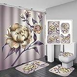 4unids/Set Flor de peonía Hoja Floral Impermeable poliéster Cortina de baño Tela para decoración de bañera Juego de Cortinas de Ducha