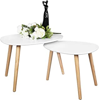 Bonnlo Nesting Tables End Tables Set of 2 for Living Room, Home and Office, White