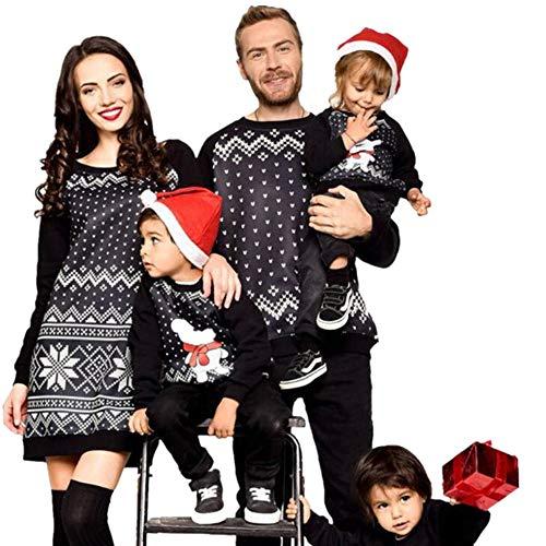 Riou Weihnachten Baby Kleidung Set Kinder Pullover Pyjama Outfits Set Familie Frauen Familie passenden Weihnachten Pyjamas PJs Kleid Nachtwäsche (130, Baby)