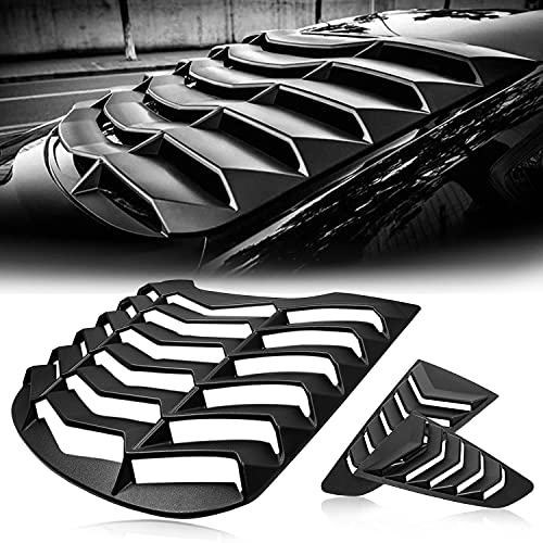 CUMART Rear+Side Window Louvers Windshield Sun Shade Cover Lambo Style Matte Black Compatible with Ford Mustang 2015 2016 2017 2018 2019 2020 Complete Set