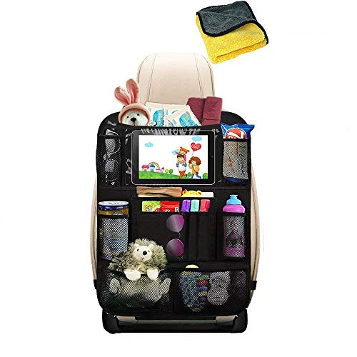 1 Stück Premium Auto Rückenlehnenschutz, Heyham Autositz Organizer mit Taschen | Rücksitz Schutz Kick-Matte | Auto Rücksitz-Organizer für Kinder mit Durchsichtigem Großen Tablet iPad Fach