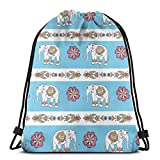 Bolsa de gimnasia con flor de elefante de dibujos animados para mujeres, mochila con cordón con bolsillos Bolsa de cuerda de nylon impermeable Mochila grande 36 x 43 cm / 14,2 x 16,9 pulgadas