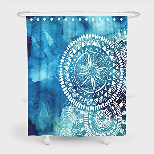 Bohemia Atrapasueños Cortina de Ducha, Impermeable Cortina de Ducha con Ganchos, Azul Púrpura Galaxia Estrella Mandala Cortinas de Baño Molde Prueba Resistente (multicolor 4, 180x180cm)