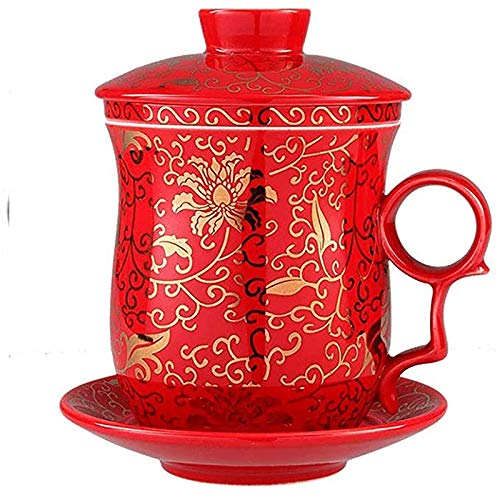 XLAHD Porcelain Tea Cup, with Lid and Saucer Infuser Sets Coffee Mug Teacup Loose Leaf Tea Brewing System Water Cup for Office Household Personal Tea Cup