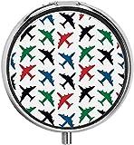 Patrón de avión Avión de Combate Jet Transporte Retro Airborne Image Pastillero Travel Pill Box