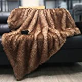 DECOSY Luxury Faux Fur Throw Blanket, Ultra Soft Fuzzy Bed Blankets, Lightweight and Cozy Warm Touch, All Season Fluffy Plush Blanket for Sofa Couch Bed (Brown, 108'x 88')