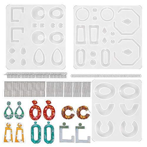Camisin 3 Paquetes de Moldes de Resina Epoxi para Pendientes, Molde de Pendientes de Resina Colgantes, Moldes de Silicona de Resina para Joya de Moda para Mujeres Chicas