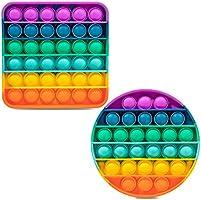 iBaste 2-PCS Rainbow Push & Pop Pop Bubble Sensory Fidget Toys for Kids and Adults, One Louder Side Push Bubbles Pop,...