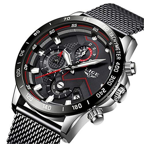 Uhren Herren Edelstahl Mesh Band Chronograph Quarz Uhr Schwarz Männer Datum Kalender Wasserdicht Multifunktions Armbanduhr Weiß