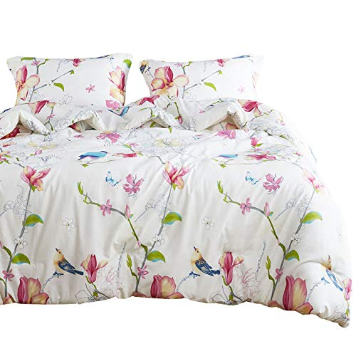 Wake In Cloud - Floral Comforter Set, Botanical Flowers and Birds Pattern Printed,100% Cotton Fabric with Soft Microfiber Inner Fill Bedding (3pcs, Twin Size)
