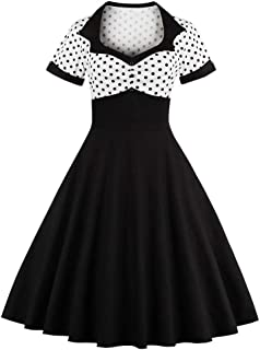 Sofkiny Women's 1950S Dress Polka Dot Cocktail Swing Dress With Short Sleeves