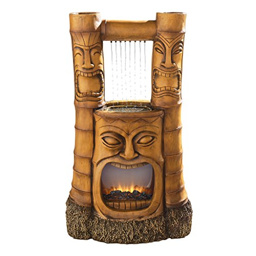 Water Fountain with LED Light - Tiki Gods of Fire and Water Garden Decor Fountain - Outdoor Water Feature and Faux Fireplace