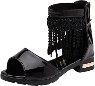 [ACMEDE] サンダル キッズ 女の子 ローマ靴 プリンセスサンダル 滑り止め タッセル 16-21CM 夏 カジュアル 靴 ジッパー お嬢様 通学 通園 発表会