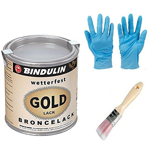 125 ml Goldlack wetterfest & farbtonstabil inkl. Pinsel von E-Com24 zum Auftragen (125 ml)