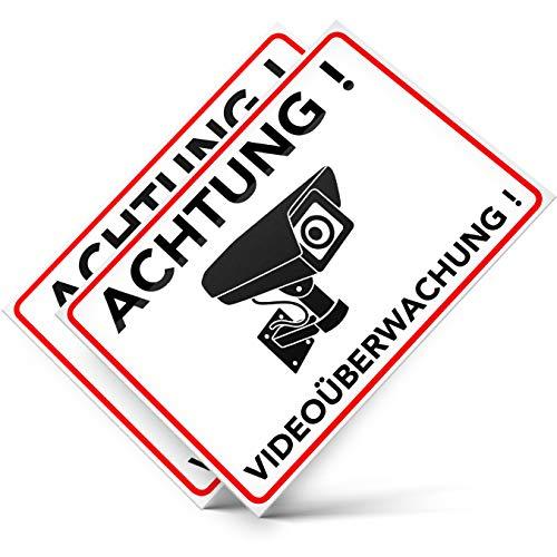 Achtung Videoüberwachung Aufkleber – Schild – Folie – Sticker (Kameraüberwachung – Überwachungskamera – Alarmanlage – Alarmgesichert – Warnschild) Weiss – 2 STK. (14,80 cm x 10,50cm)