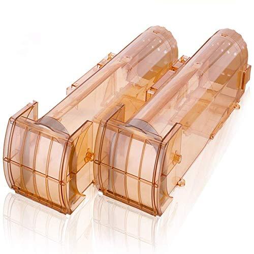 MOHOO 2PCS Piège à Souris Réutilisable Humain Pièges à Rat Cage Professionnel Piège à Souris Efficace Souricière Utilisable pour Intérieur Extérieur Cuisine Jardin Grenier 320 * 85 * 95MM