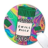 Natural Rubber Mouse Pad Chill Pills Painting Non-Slip Rubber Mouse Pad Gaming Mouse Mat