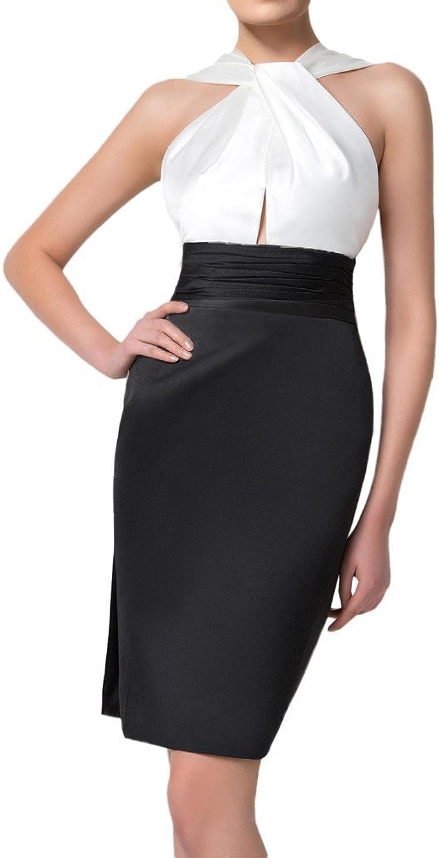 Angel Bride Classic White and Black Empire Halter Straps Mini Formal Party Dress