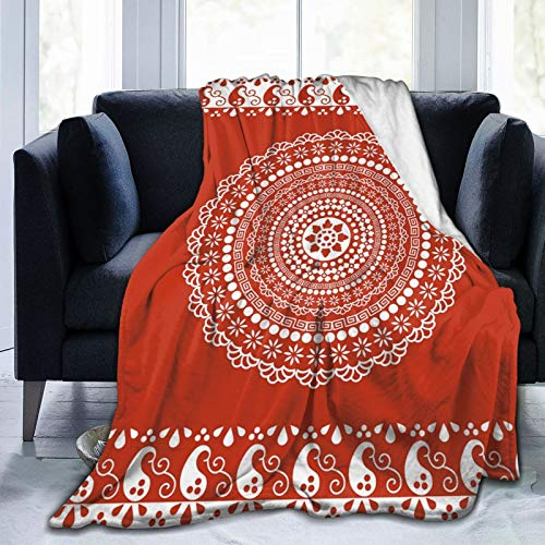FULIYA Flannel Blanket Lightweight Super Soft,Traditional Ethnic Asian Paisley Design with Side Frame Borders Image,Blanket with Soft Anti-Pilling Flannel for Adults & Kids 3D Print 80'x60'