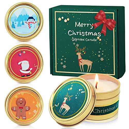 SCENTORINI Duftkerzen in Dose, Weihnachten Geschenk Set Aroma Kerzen aus 100% Sojawachs, Duft von Apfel & Zimt, Lebkuchen, Noble Wein, Winter Zedernholz 4 Stück
